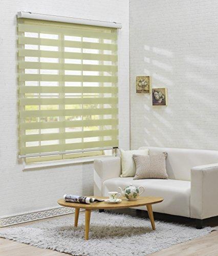 サイズ オーダーメイド, [Winsharp Basic, light_green, W 160 x H 120 (CM)] 調光ロールアップ スクリーン 窓 プリーツ ブラインド & カーテン 簾