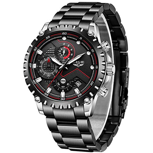 LIGE Hombres Deporte Impermeable Relojes Negros Acero Inoxidable Reloj Militar Fecha Caballeros Plata Cronógrafo
