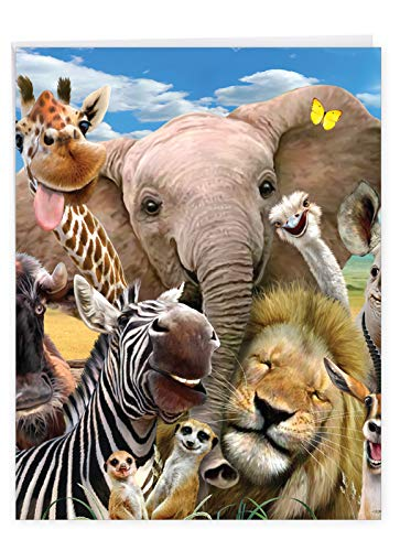 Here's Looking At Zoo - Hilarious Happy Birthday Card with Envelope (8.5 x 11 Inch) - Funny Zoo Animal Greeting Card for Kids, Adults - Big Happy Bday, Appreciation Stationery From All Of Us J6335BDG