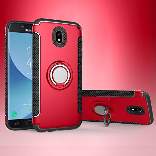 Shinyzone Ring Halter Ständer Hülle für Samsung Galaxy J5 2017 (J530),[Kohlefaser Anti-Rutsch][Kompatibel mit Magnetischer Autohalterung] Dual Layer TPU + PC Design Schutzhülle-Rot