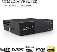 GT Media V9 Super DVB S2 Satélite Receptor de TV Digital Decodificador con Wi-Fi Incorporado Soporte H.265 1080P Full HD Compartir red IPTV,Youtube,PVR Ready ,CC am,Newcam, Full PowerVu, DRE &Biss key