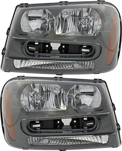 JP Auto Headlight Compatible With Chevrolet Trailblazer L Ss 2002 2003 2004 2005 2006 2007 2008 2009 Driver Left And Passenger Right Side Pair Set Headlamp