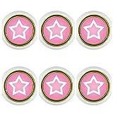 Set di 6 pomelli per mobili in plastica, 6 pezzi, 6 x KST06494W a forma di stella, rosa, piccoli pomelli universali per armadio, cassetto, comò, porta, cucina, bagno, casa, cameretta dei bambini