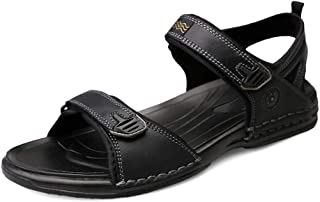 Xiang Ye Sandal for Men Buckles Toe Genuine Leather Simple and Convenient Light Weight Cozy Breathable Casual Manual Sewing (Color : Black, Size : 5.5 UK)