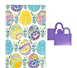 Spring Vinyl Tablecloth Easter Eggs with Colorful Flowers Paisley Dyed Prints - Flannel Backed Vinyl Tablecloth (52' x 90' Inch)
