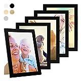 Photolini Lot de 5 Cadres 21x30 cm/DIN A4 Collection Basique Moderne Noir en MDF Comprenant Accessoires/Collage de Photos/galerie...