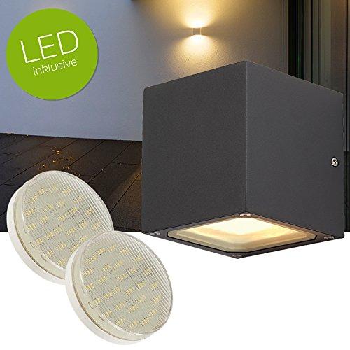 SITRA CUBE LED Außenwandleuchte Up Down Aluminium Aussenleuchte anthrazit + GX53 LED Leuchtmittel 3W warmweiss 3000K