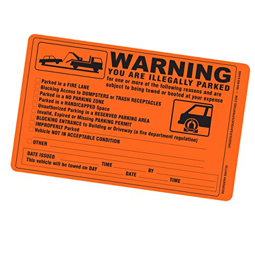 Parking Violation Sticker - Vehicle Illegally Parked Tow Notice - Parking Violation Notice - No Parking Warning Stickers - 5.5 x 7.5 Hard to Remove Stickers - Pack of 50 (Orange) Photo #6