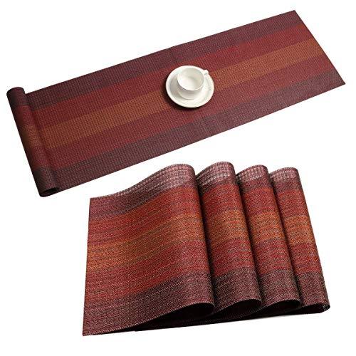 Pauwer 6er Set Platzsets und Tischläufer rutschfest Abwaschbar Platzdeckchen PVC Abgrifffeste Hitzebeständig Tischsets für Küche,Rot