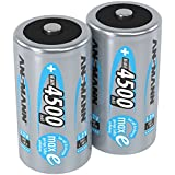 ANSMANN C Size Batteries [Pack of 2] Long Lasting Precharged Rechargeable C Type 4500 mAh NiMH MaxE Pro Battery For Flashlights, Operating Machines, Toys, LED Torch Lights