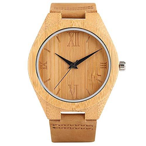 DZNOY Reloj de madera para hombre reloj de madera minimalismo simple hecho a mano talla cuarzo madera bambú mujeres deportes reloj con cuero regalo reloj de bolsillo
