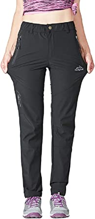 donhobo Womens Quick Dry Hiking Pants Ultralight UV Protection Durable Camping Trousers with Zip Pockets