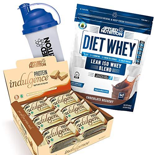 Applied Nutrition Bundle Diet Whey Protein Powder Low Carb & Sugar 1kg + Protein Indulgence High Protein Low Sugar Bar Box 12 x 50g + 700ml Shaker (Diet Whey Chocolate + White Choc Bars)