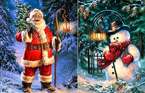 Zhuang 2 packs of DIY diamond painting full digital diamond set, full diamond crystal rhinestone embroidery picture crafts, home wall decoration gifts, Christmas snowman, Christmas elderly (12x16inch)