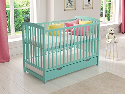 Jacob Wooden Baby Cot Bed 120x60cm Free Deluxe Aloe Vera Mattress, Safety Wooden Barrier & Teething Rails (Mint)