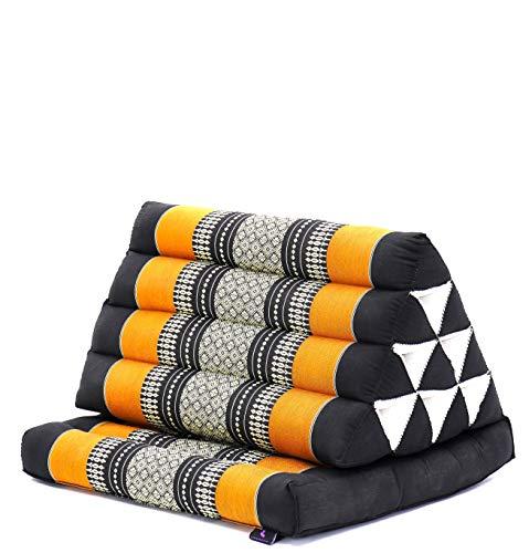Leewadee Lesekissen mit Sitz-Auflage Dreieckskissen Rückenstütze Fernsehkissen Chill-Out Thai-Matte Ökologisches Naturprodukt, 75x50x40 cm, Kapok, orange schwarz