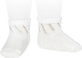 Calcetines cortos de perlé para bebé con calado diagonal
