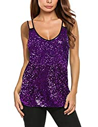 Purple Sleeveless Sequin Top Camisole Vest Tank Tops
