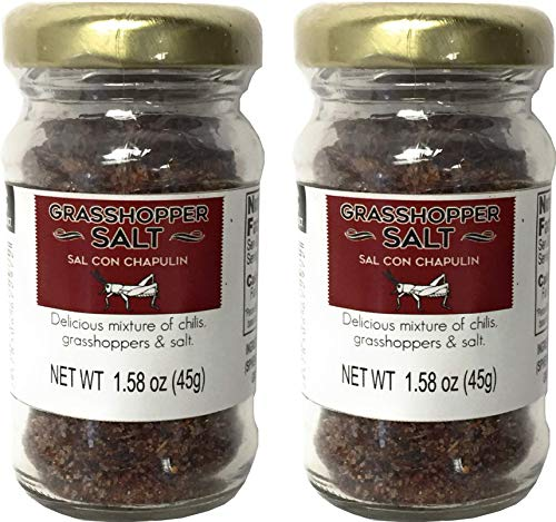 2 Pack Sal Con Chapulin, Grasshopper Salt Made in Oaxaca Mexico with Toasted Mexican Grasshoppers also known as Chapulines | Perfect as a Mezcal Salt, in Traditional Oaxacan Recipes and More!