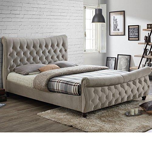 Velvet Sleigh Bed, Happy Beds Copenhagen Warm Stone Fabric Chesterfield Bed - 5ft UK King (150 x 200 cm) Frame Only
