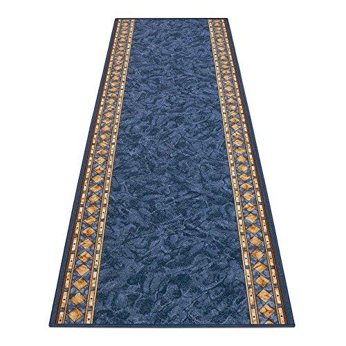 BilligerLuxus Teppichläufer Teppich Läufer Brücke Cheops Bordüre blau 67cm Breite, Länge:500cm