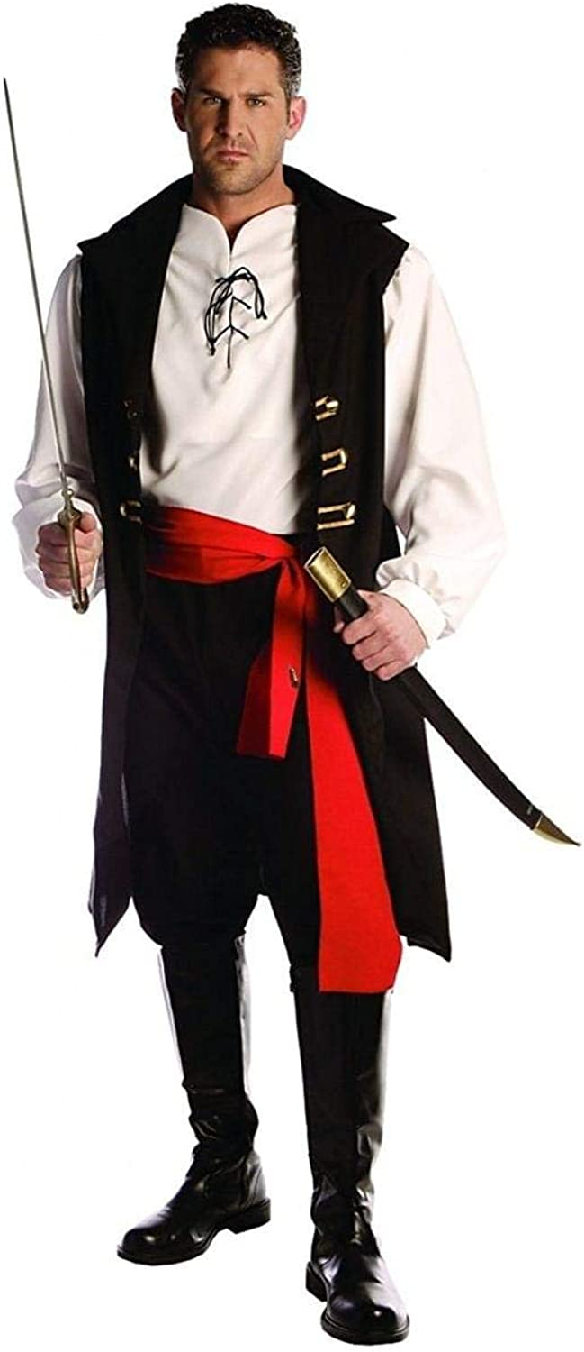 WMU 544551 Captain Cutthroat Men Costume with Pirate Vest  One Size