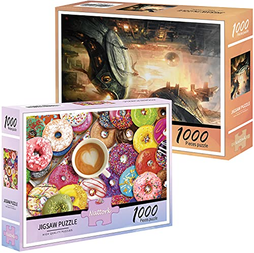 Nattork 2-Pack of 1000-Piece Jigsaw Puzzles, for Adults, Families, and Kids Ages 8 and up, Delicious Donuts and Spacecraft