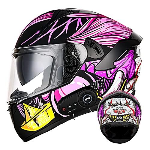 Casco de motocicleta abatible con Bluetooth certificado por DOT Cascos de moto modulares de cara completa (payaso morado) Casco antiniebla a prueba de lluvia con doble visera para adultos,XXL(63~64)