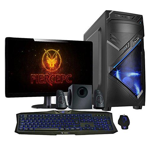 Fierce vulturis Quad Core Overclocked Gaming PC–HDD e SSD Options, 8/16GB RAM, RX Serie, 10Serie Nova Blau - Tastatur, Maus, Bildschirm und Lautsprecher 16GB RAM, 120GB SSD und 1TB Festplatte