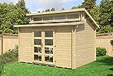 CARLSSON Alpholz Gartenhaus Frajo-28 aus Massiv-Holz | Gerätehaus mit 28 mm Wandstärke | Garten Holzhaus inklusive Montagematerial | Geräteschuppen Größe: 380 x 300 cm | Pultdach