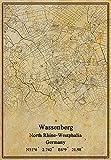 Leinwanddruck, Motiv: Deutschland-Flagge Wassenberg, Nordrhein-Westfalen, Vintage-Stil, ungerahmt, Dekoration, Geschenk, 61 x 91 cm