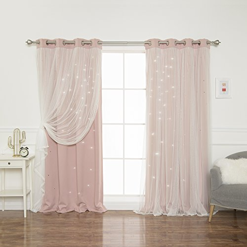 "Best Home Fashion Tulle Overlay Star Cut Out Blackout Curtains - Stainless Steel Grommet Top - Dusty Pink - 52"" W x 84"" L (Set of 2 Panels)"
