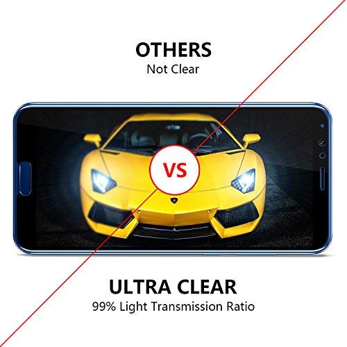 OMOTON Panzerglas Schutzfolie für Huawei Honor View 10, Anti- Kratzer, Bläschenfrei, 9H Härte, HD-Klar [3D Runde Kante] -Schwarz - 5