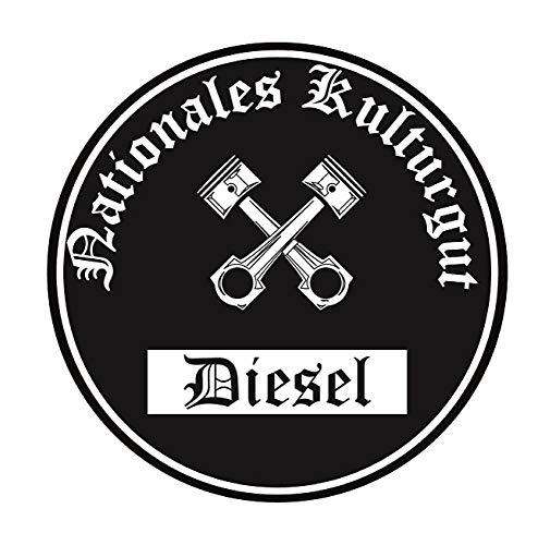 Nationales Kulturgut Diesel Aufkleber Auto Aufkleber Sticker Feinstaub Umwelt Plakette JDM Tuning TÜV LKW Lustig Fun 2 Stück! Umweltzone Fahrverbot Diesel-Fahrzeug