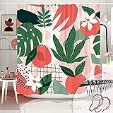 DESIHOM Süßer Obst-Duschvorhang 183 x 183 cm, rosa abstrakter Duschvorhang Pfirsich Duschvorhang Mädchen Kinder Duschvorhang Polyestergewebe maschinenwaschbar