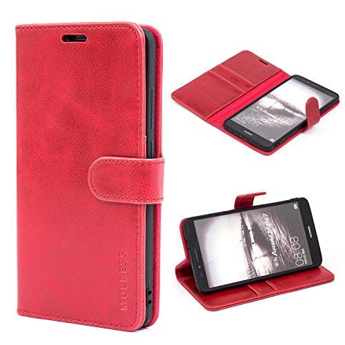 Mulbess Handyhülle für Huawei Ascend Mate 7 Hülle Leder, Huawei Ascend Mate 7 Handytasche, Vintage Flip Schutzhülle für Huawei Ascend Mate 7 Hülle, Wein Rot