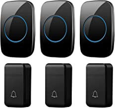 Self-Powered Wireless Doorbell, IP44 Waterproof Electric Doorbell, 200M Remote Doorbell, 3 Button and 3 Receivers, 3 Volum...