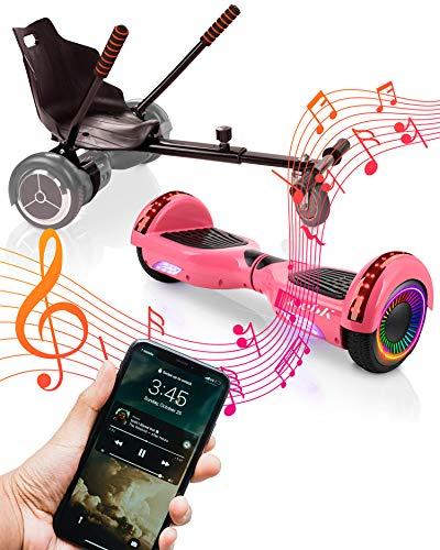 ACBK Bluetooth UL2272 Hoverboard + Silla Kart, Juventud Unisex, Rosa, Rueda LED 6.5'
