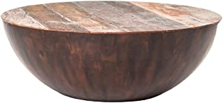 Kathy Kuo Home Rod Rustic Pieced Wood Half Moon Coffee Table