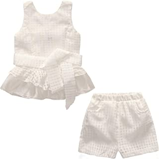 CASUALBOYS Chica 2 Piezas Traje Transpirable Chaleco De Encaje A Cuadros + Pantalones Cortos White-120