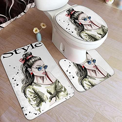Ttrsudddsyy Juego de alfombras de baño de 3 Piezas,Hermosa Mujer Joven en Gafas de Sol, Almohadillas Antideslizantes Alfombrilla de baño + Contorno + Cubierta de Tapa de Inodoro Almohadilla