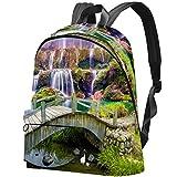 Puente de madera viejo y cascada arco iris patrón bolsa de viaje para estudiantes universitarios...