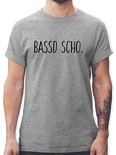 Franken Männer - Bassd Scho. - XXL - Grau meliert - weiße t-Shirts - L190 - Schlichtes Männer Shirt