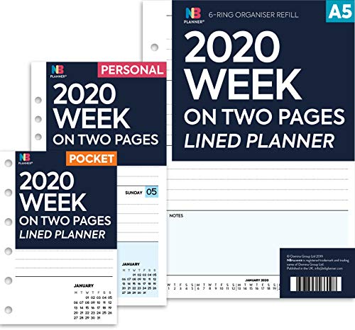 NBplanner® 2020 Week on two pages lined diary organiser refill planner insert Filofax COMPATIBLE White (Personal: 95 x 171 mm)