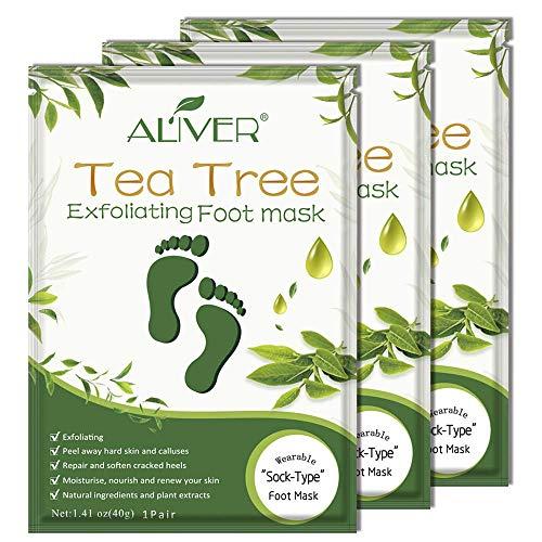ALIVER Foot Peel Mask 3 Pack Remove Callus & Repair rough heals-Men Women Tee Tree)