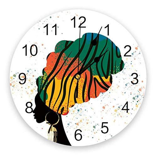 tyjsb Reloj de Pared Moderno, Botella de Mujer Africana, Reloj de Pared de PVC, decoración del hogar, Dormitorio, Reloj silencioso, Pared para Sala de estar-30X30cm