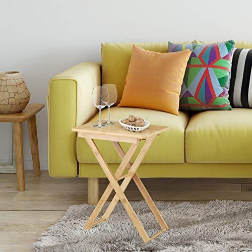 Relaxdays Plegable Mesa Auxiliar, Madera de bambú, pequeño Plegable Mesa de TV, Rectangular, HxWxD: ca, 52x 40x 31cm, Natural marrón, bambú