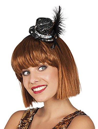Boland - AC5120 - Serre tete mini chapeau cabaret a paillette et plume modeles ass.