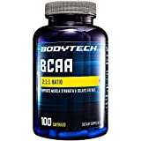 BodyTech BCAA (Branched Chain Amino Acid) Optimal 2:1:1 Ratio Supports Muscle Recovery Endurance (100 Capsules)