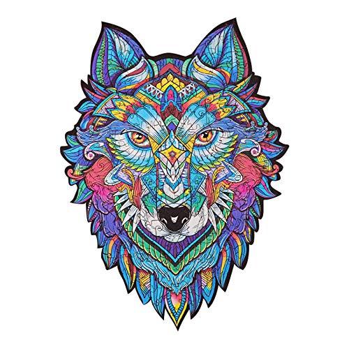 dsdsad Holz Tier Puzzles, einzigartige Form Puzzleteile, Dekompression Kreativität Spaß für Puzzles Erwachsene und Kinder Bestes Geschenk (Farbe: Wolf King 177 Stk.)